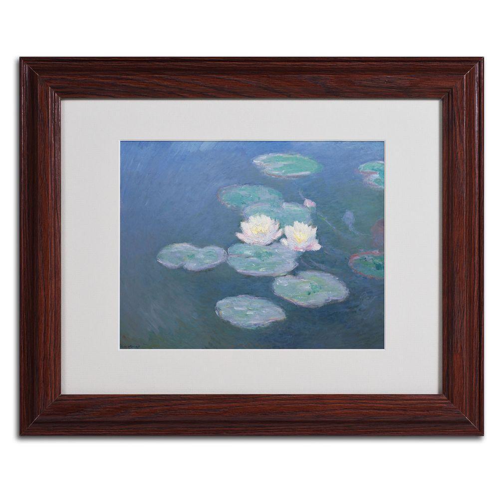Trademark Fine Art 11 in. x 14 in. Waterlilies Evening Matted Brown Framed Wall Art