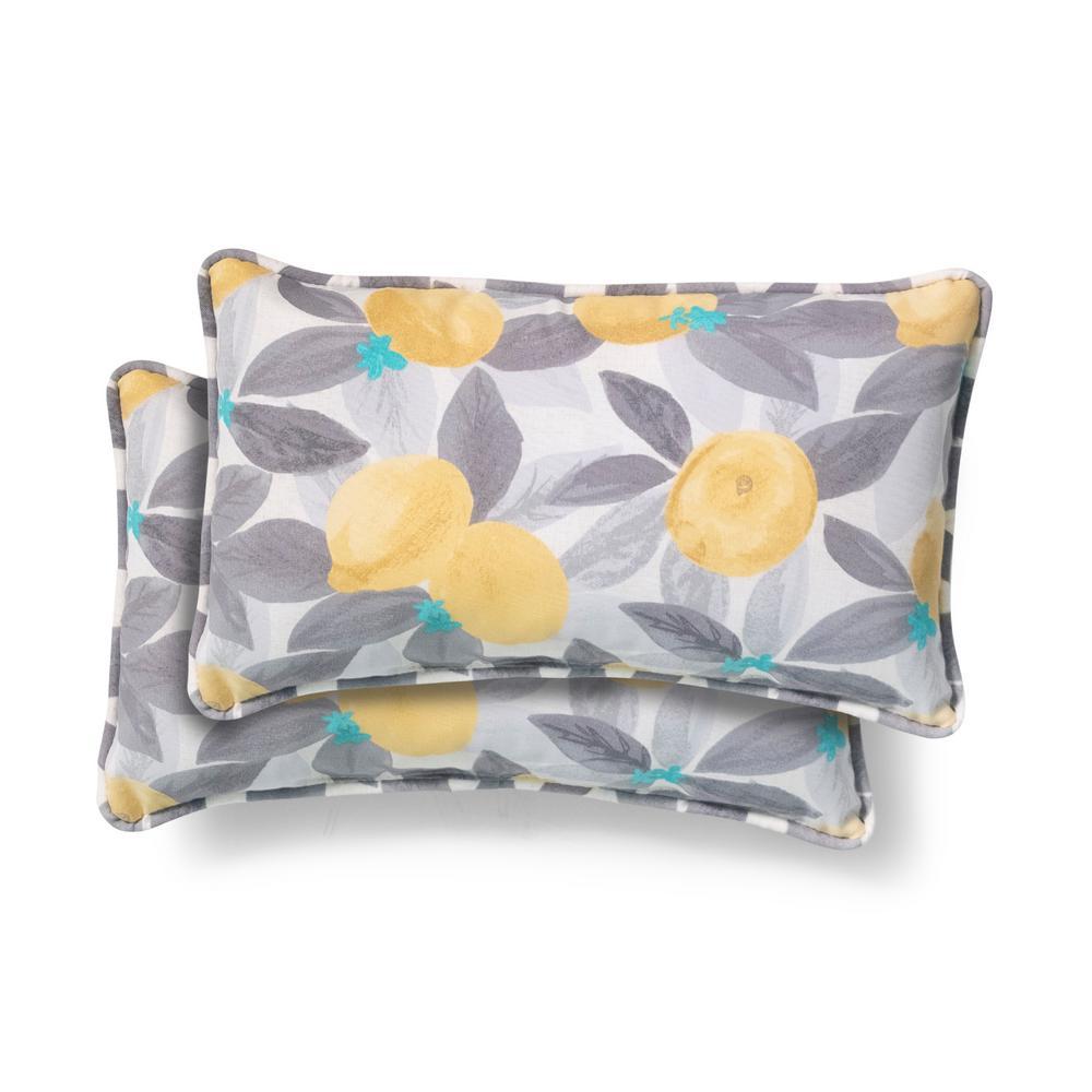 20 in. x 12 in. Stone Gray Lemons Outdoor Lumbar Pillow (2-Pack)