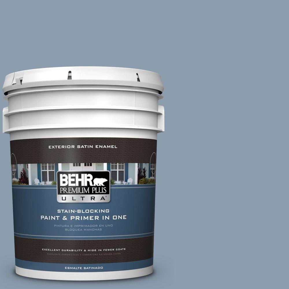 BEHR Premium Plus Ultra 5-gal. #ICC-65 Relaxing Blue Satin Enamel Exterior Paint