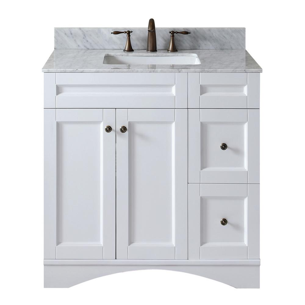 Virtu USA Elise 36 in. W Bath Vanity in White with Marble Vanity Top in White with Square Basin