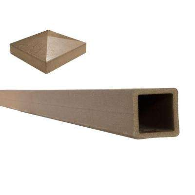 Seclusions 5 in. x 5 in. x 9 ft. Saddle Brown Wood-Plastic Composite Fence Post with Crown Post Cap