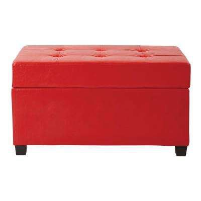 Red Vinyl Storage Ottoman