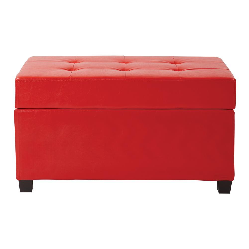Red Vinyl Storage Ottoman