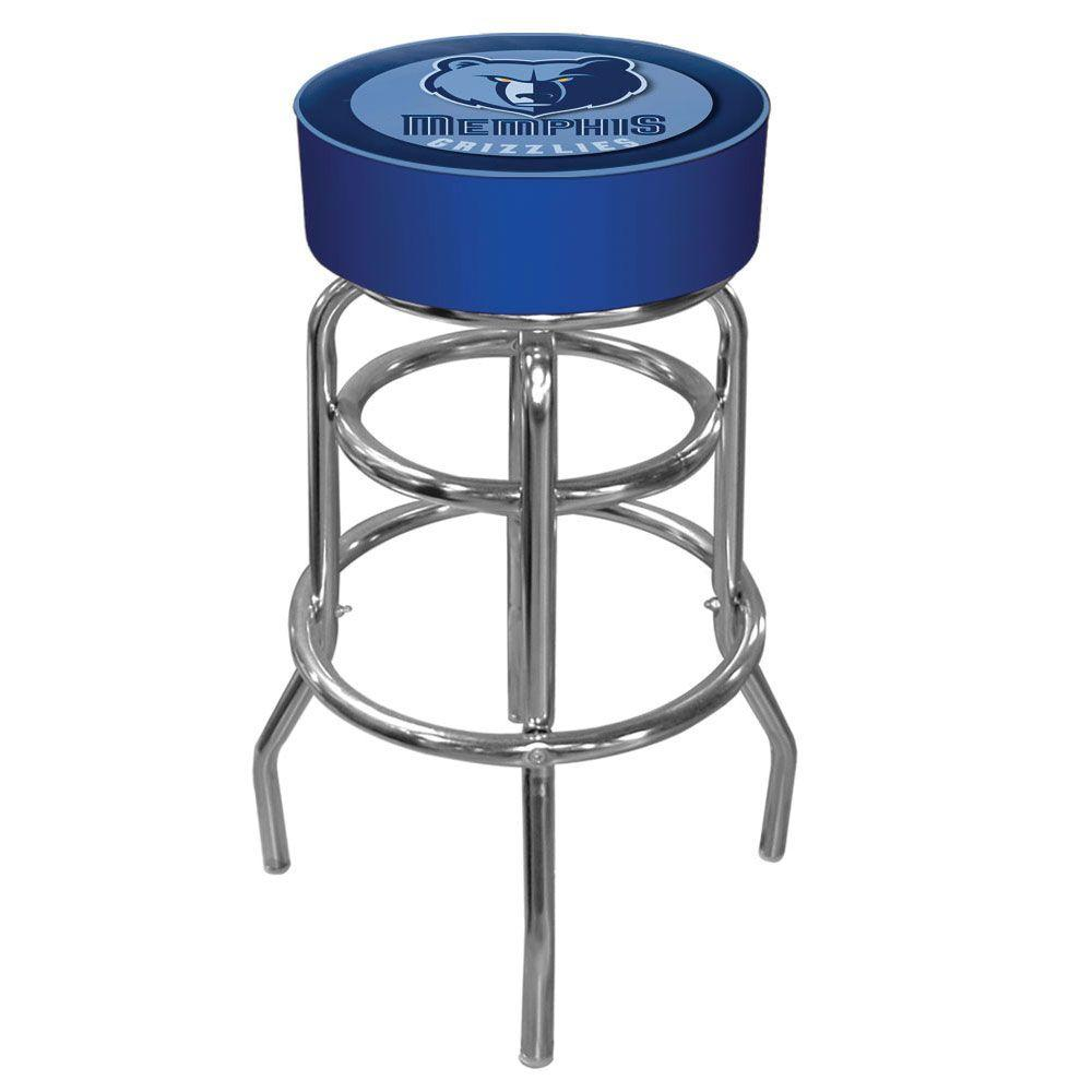Memphis Grizzlies NBA 31 in. Chrome Padded Swivel Bar Stool