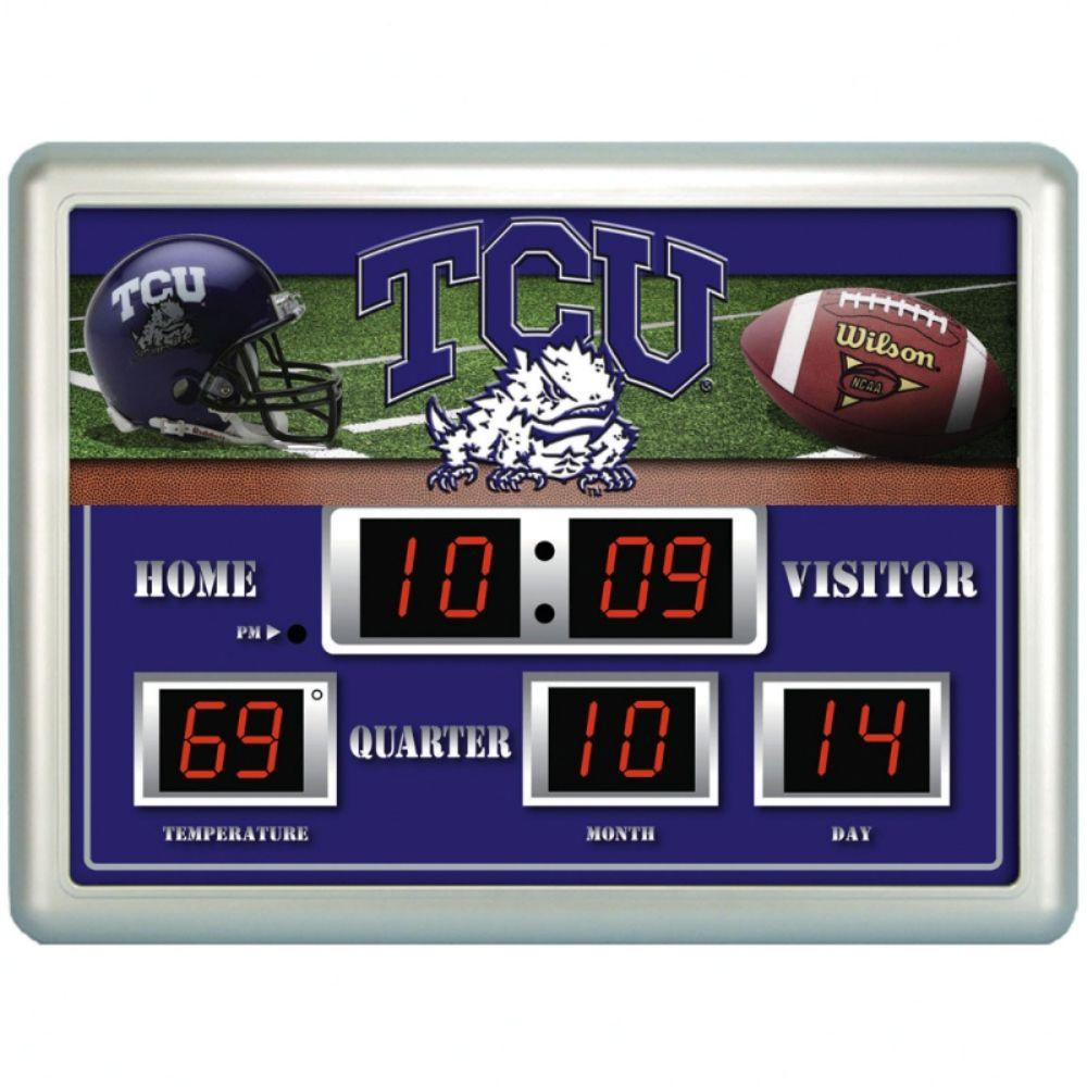 null Texas Christian University 14 in. x 19 in. Scoreboard Clock with Temperature