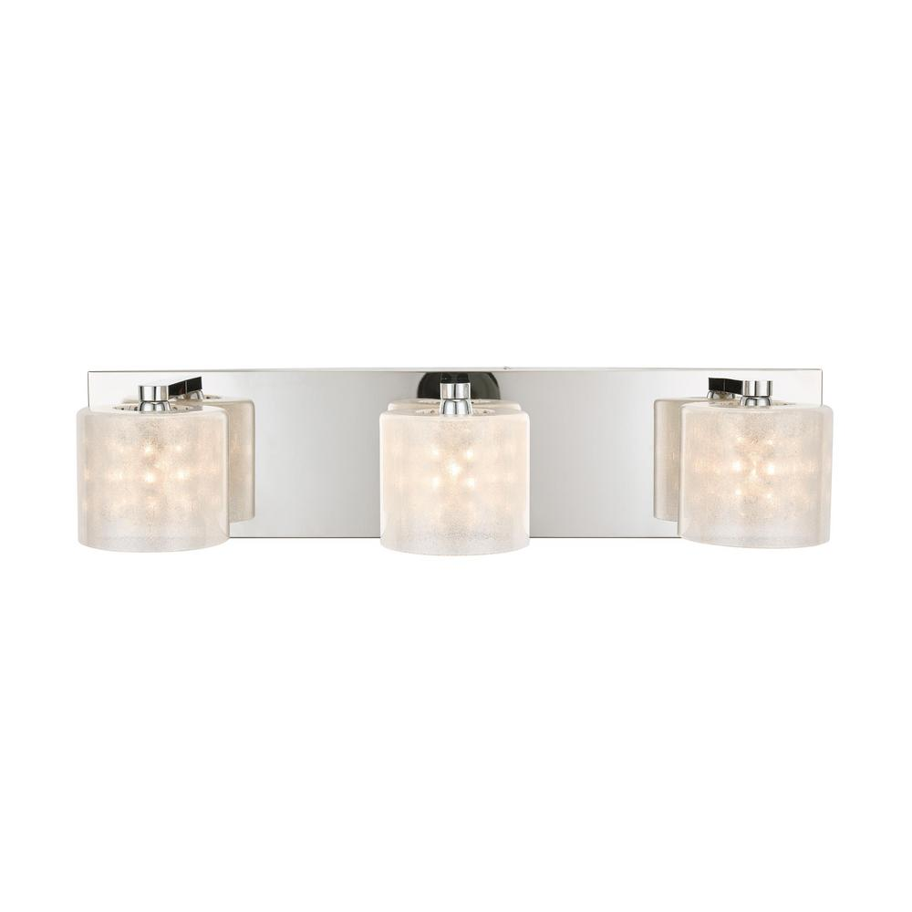 Home Decorators Collection Pommercy Place Collection 3-Light Chrome Vanity Light With Sand Blasted Glass Shades and Glass Decorative Beads