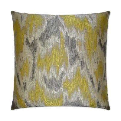 Watermark Yellow Feather Down 24 in. x 24 in. Standard Decorative Throw Pillow