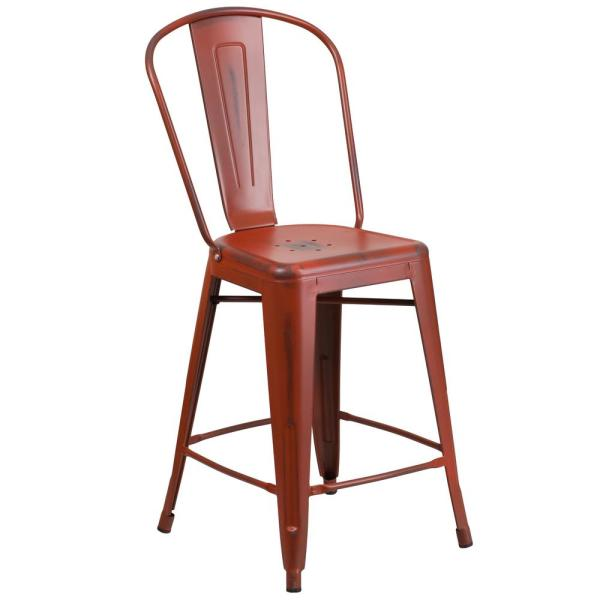 24 in. Distressed Red Bar Stool