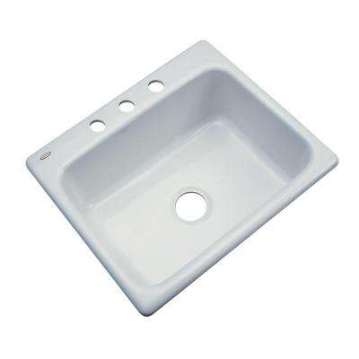 Inverness Drop-In Acrylic 25 in. 3-Hole Single Bowl Kitchen Sink in Sterling Silver