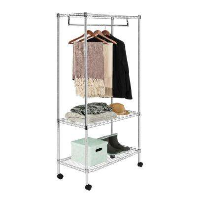 Jane 35.4 in. x 71 in. 3-Tier Chrome Garment Rack