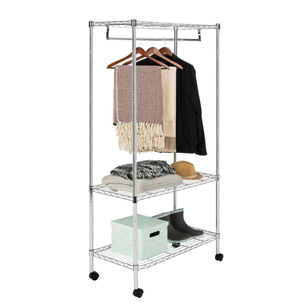 Jane 35.4 in. x 71 in. 3-Tier Chrome Garment Rack