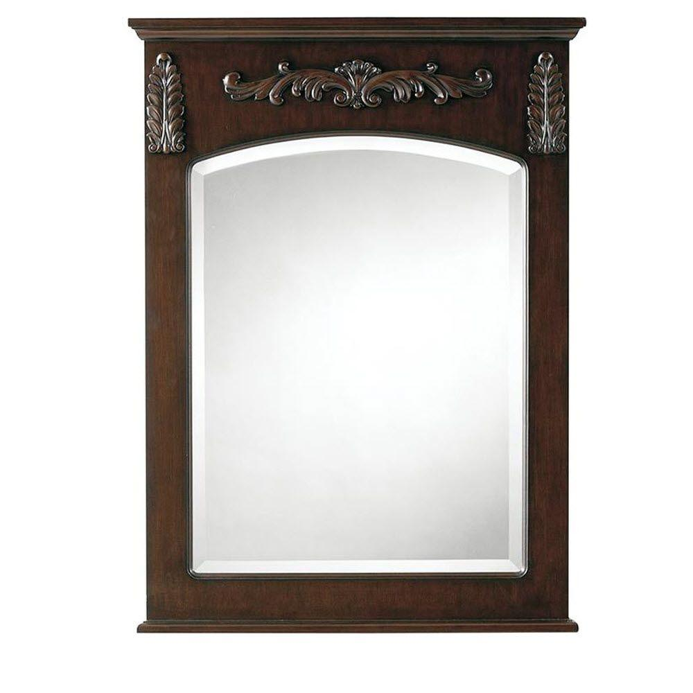 Wall Mirror Antique Cherry Bathroom Vanity Wood Beveled Rectangle Vertical Cleat 842636102419 Ebay