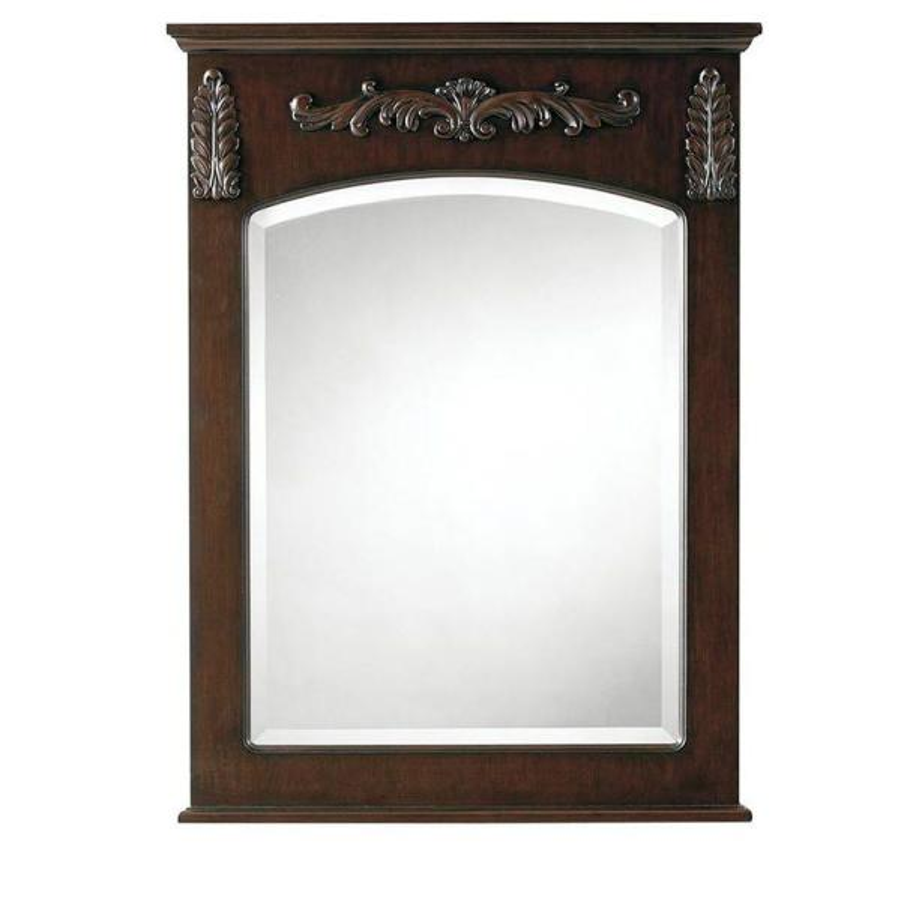 22 in. W x 32 in. H Framed Rectangular  Bathroom Vanity Mirror in Antique Cherry