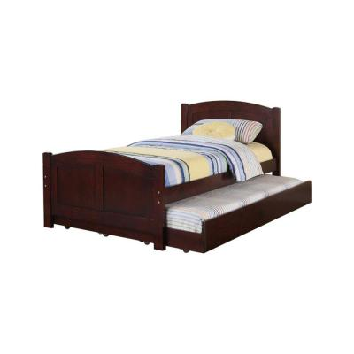 Fascinating Cherry Brown Wooden Twin Bed with Trundle