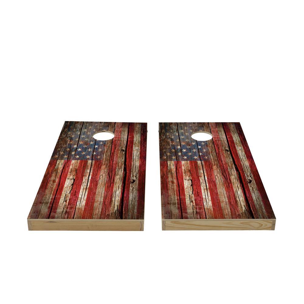 Vintage Flag Wood Cornhole Set