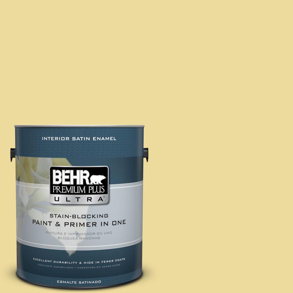 BEHR Premium Plus Ultra 1-gal. #P330-3 Pear Cider Satin Enamel Interior Paint