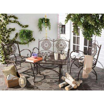 Sophie Rustic Brown 4-Piece Iron Patio Conversation Set