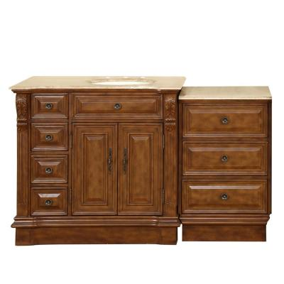 58 in. W x 22 in. D Vanity in Walnut with Stone Vanity Top in Travertine with Ivory Basin