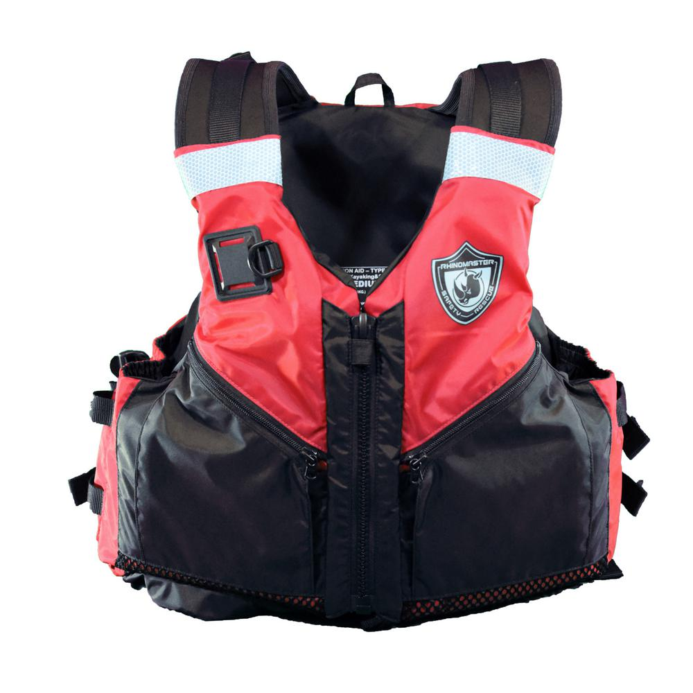 Rhino Master Adult Life Vest for Watersports (Red) - Kayaking, Paddle-Boarding, Sailing, Canoeing - Uscg Approved Type III, Red/Black Stay safe on the waters while looking great in this vibrant red vest. Whether you stick to calm currents or brave the choppiest of waves, know that you're paddling safely in the RhinoMaster Kayak Type III Vest. This high-quality vest is perfect for paddle boarding, kayaking, sailing, canoeing, or similar water sports. The RhinoMaster Kayak Type III Vest fits adventurers 90 lbs. and over with a chest size between 36 in. and 44 in. Adjustable straps ensure a safe and secure fit. Go where the waters take you - safely with RhinoMaster. Color: Red/Black.