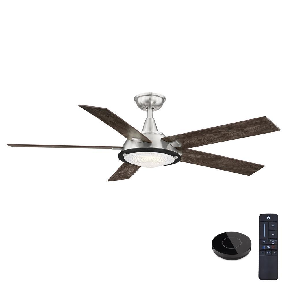 Home Decorators Collection Merienda 56 in. LED Brushed Nickel Ceiling Fan with Light and Remote Control works with Google and Alexa