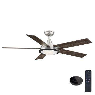 Merienda 56 in. LED Brushed Nickel Ceiling Fan with Light and Remote Control works with Google and Alexa