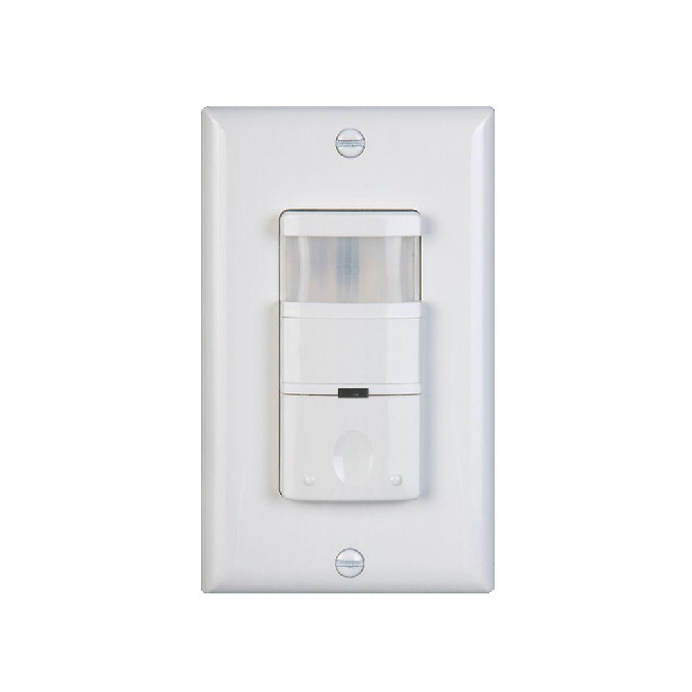 Nicor 120 277 Volt Dual Relay Occupancy Vacancy Passive Infrared Dark Light Activated Motion Sensor Wall Switch