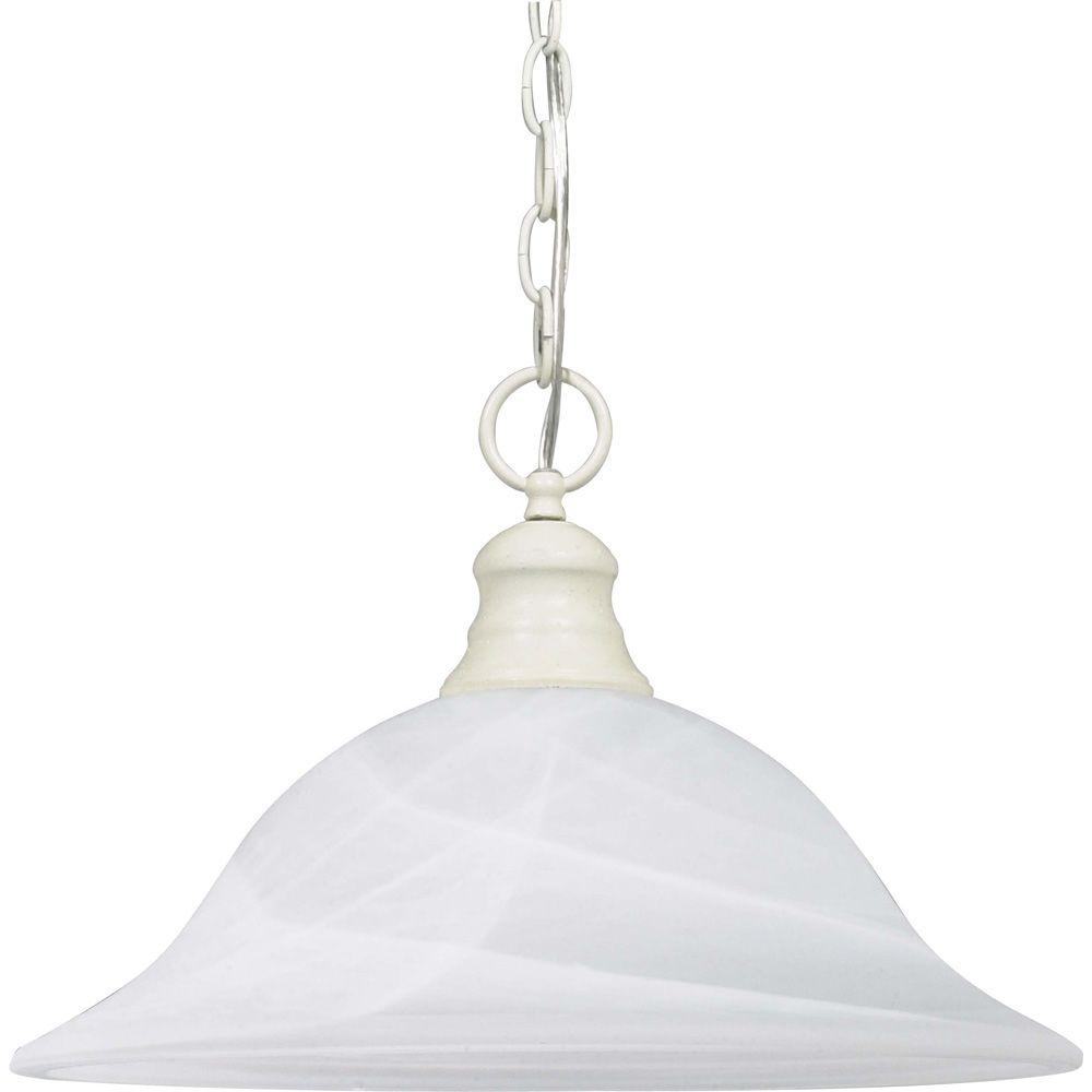 Glomar 1-Light Textured White Pendant with Alabaster Glass Shade  sc 1 st  The Home Depot & Glomar 1-Light Textured White Pendant with Alabaster Glass Shade ... azcodes.com