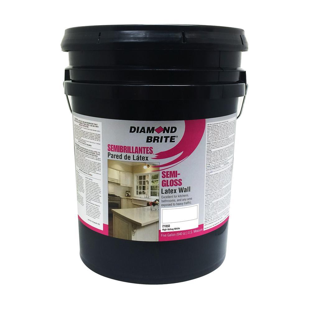 Diamond Brite Paint 5 gal. High Hiding White Semi-Gloss Latex Interior Paint
