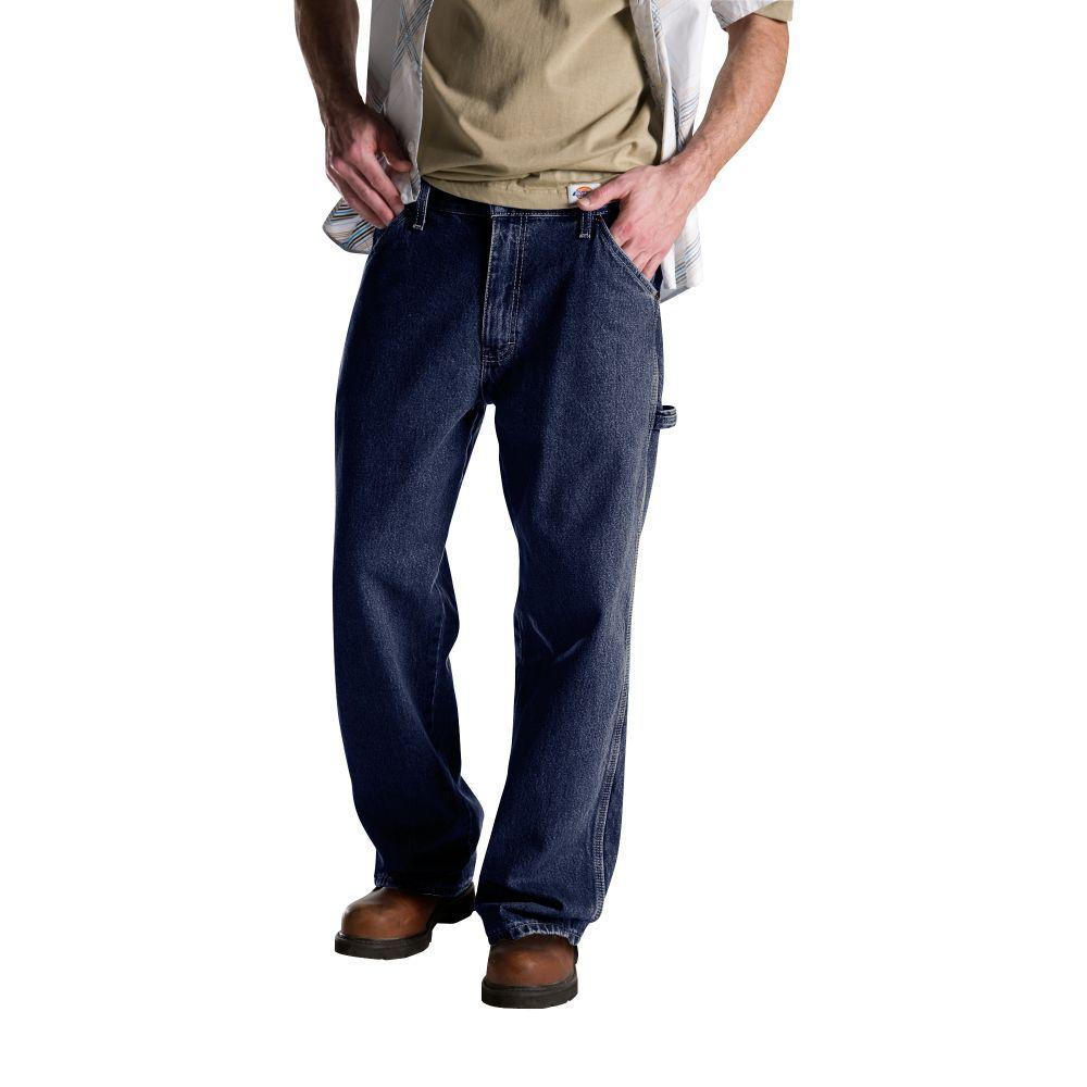 Dickies Relaxed Fit 40 in. x 34 in. Denim Utility Jean Indigo Washed Blue