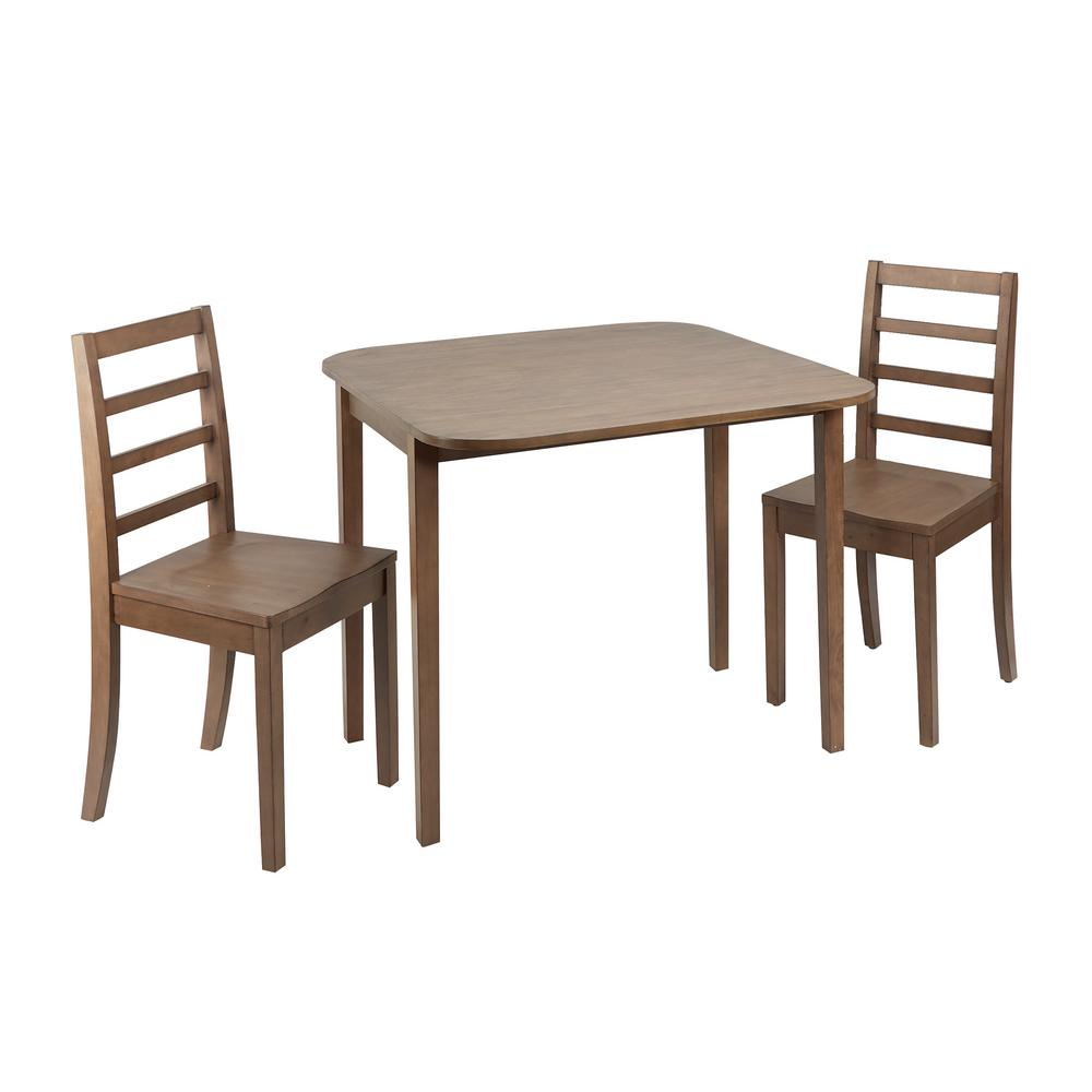 Mason 3 Piece Drop Leaf Gray Dining Set With Ladderback Chairs