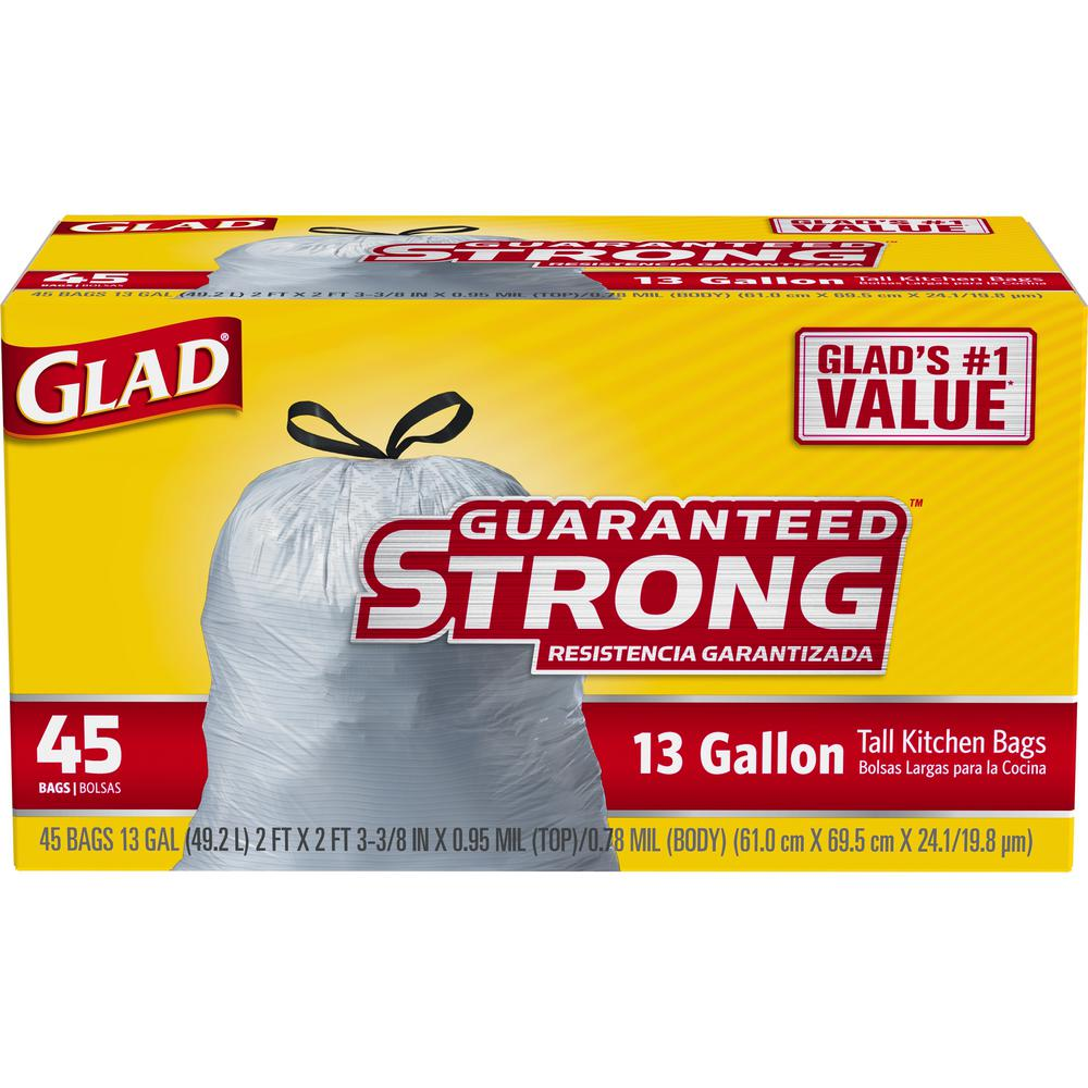 Glad 13 Gal Tall Kitchen Drawstring Trash Bags 45 Count