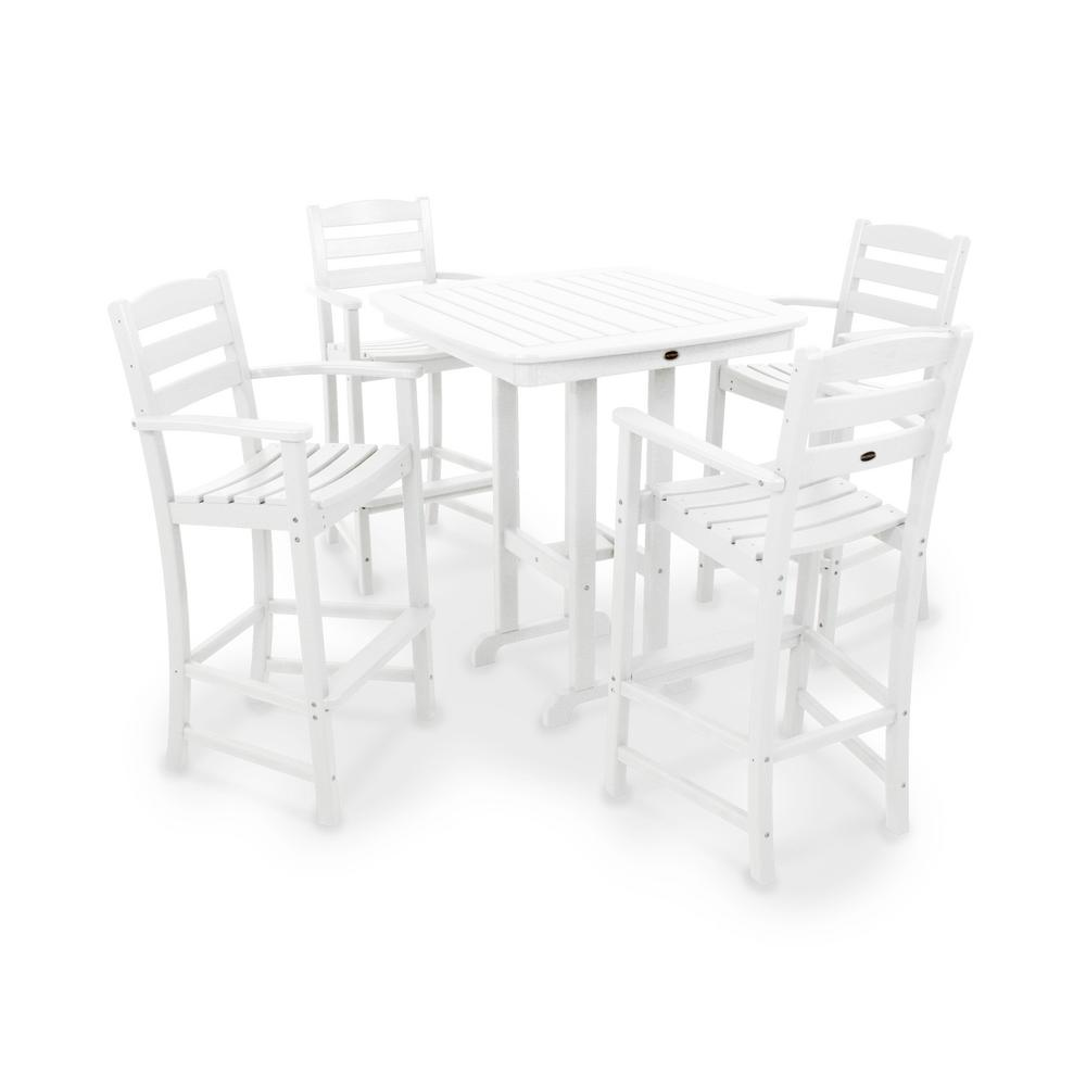 Casa Cafe White Plastic Outdoor Patio Bar Set La Product Picture 2526