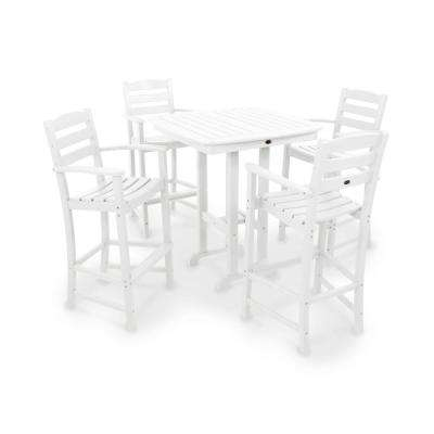 La Casa Cafe White 5-Piece Plastic Outdoor Patio Bar Set