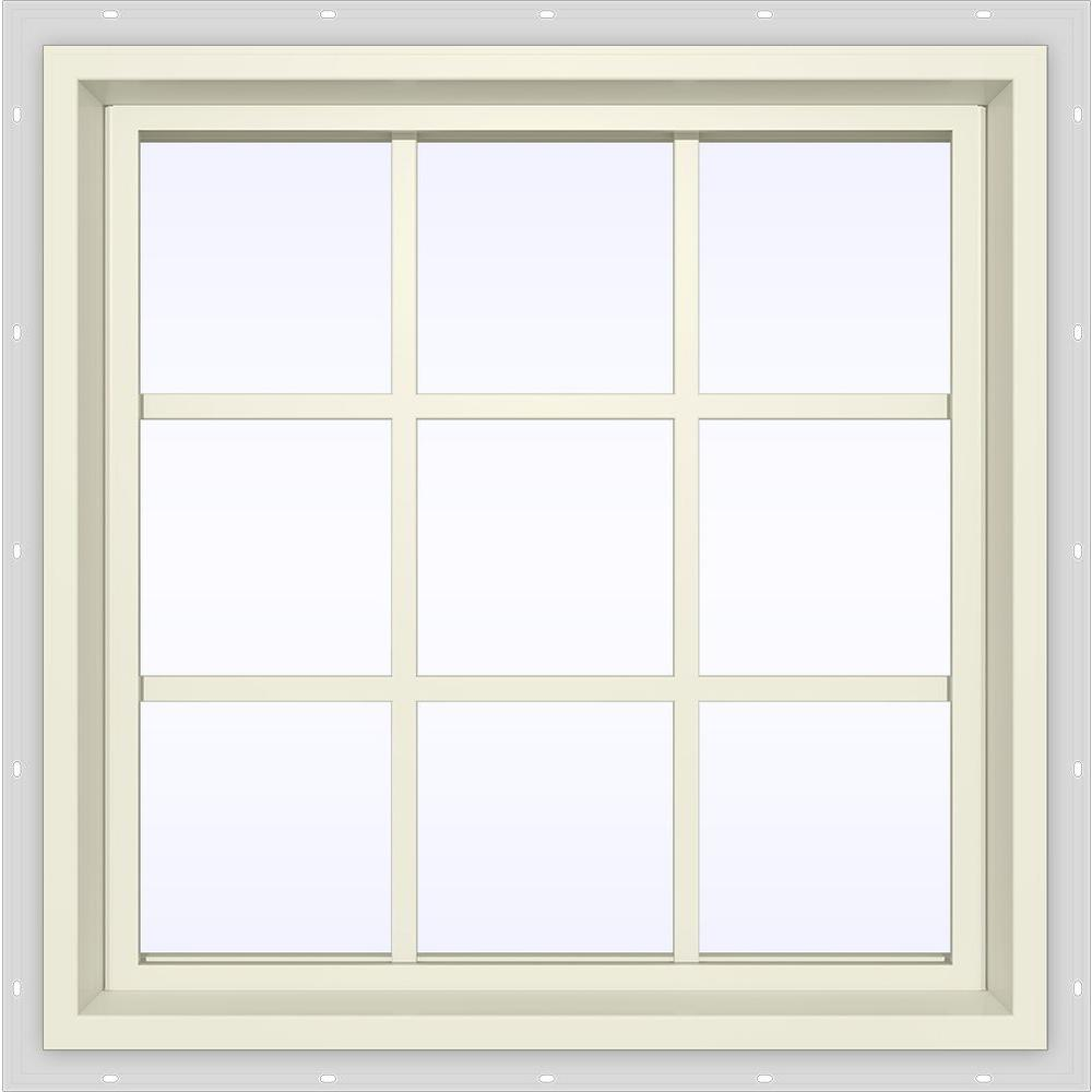 JELD-WEN 35.5 in. x 35.5 in. V-4500 Series Fixed Picture Vinyl Window with Grids in Yellow