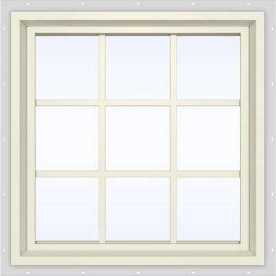 35.5 in. x 35.5 in. V-4500 Series Fixed Picture Vinyl Window with Grids in Yellow