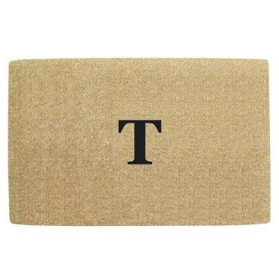 No Border 22 in. x 36 in. Heavy Duty Coir Monogrammed T Door Mat