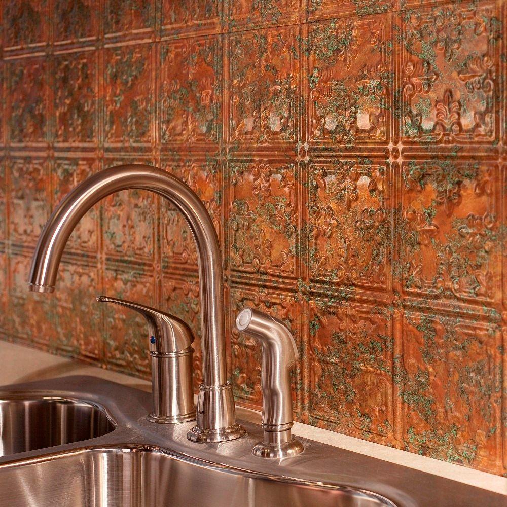 24 in. x 18 in. Traditional 10 PVC Decorative Backsplash Panel in Copper Fantasy
