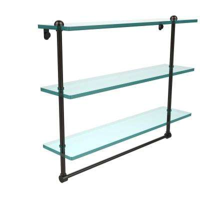22 in. Triple Tiered Glass Shelf with Integrated Towel Bar in Oil Rubbed Bronze