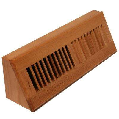3-3/4 in. x 18 in. Wood Louvered Floor/Wall Register, Natural Solid Oak