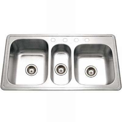 Premiere Gourmet Series Drop-In Stainless Steel 41 in. 4-Hole Triple Bowl Kitchen Sink