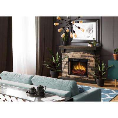 Sable Mills 42 in. Faux Stone Mantel Electric Fireplace in Tan