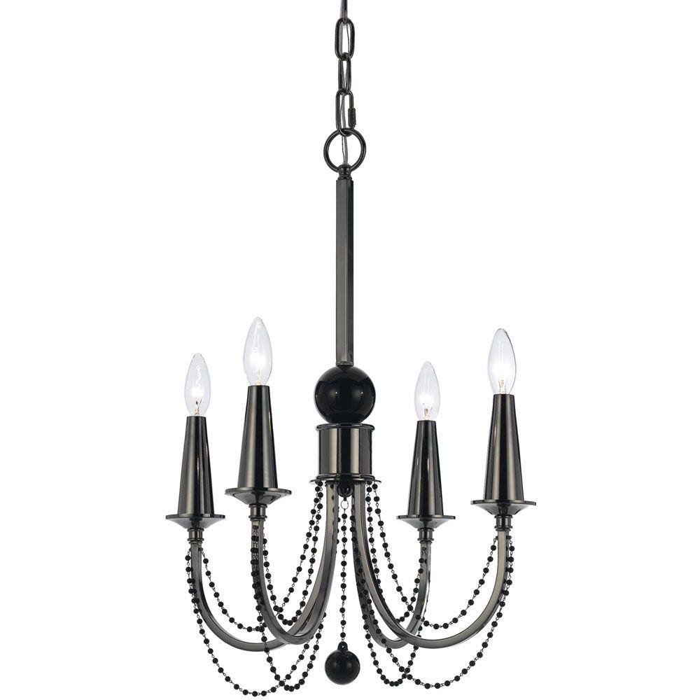 Af lighting shelby 4 light black nickel chandelier with black glass af lighting shelby 4 light black nickel chandelier with black glass bead accents arubaitofo Choice Image