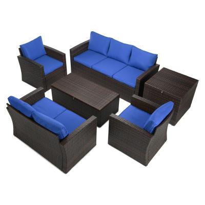 6-Piece Brown Wicker Outdoor Patio Conversation Set with Blue Cushions