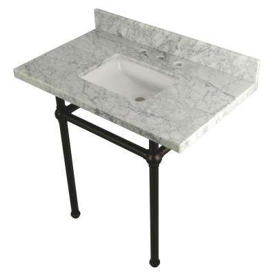 Square Sink Washstand 36 in. Console Table in Carrara with Metal Legs in Oil Rubbed Bronze