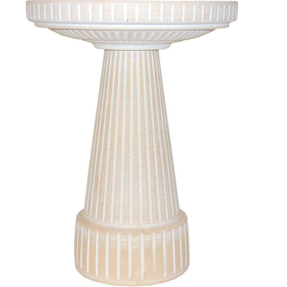 Burley Clay Universal Dove White Birdbath Set