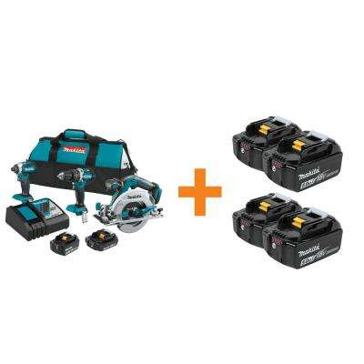 18-Volt LXT Lithium-Ion Brushless Cordless Combo Kit (3-Tool) with Bonus 4 Batteries 5.0Ah