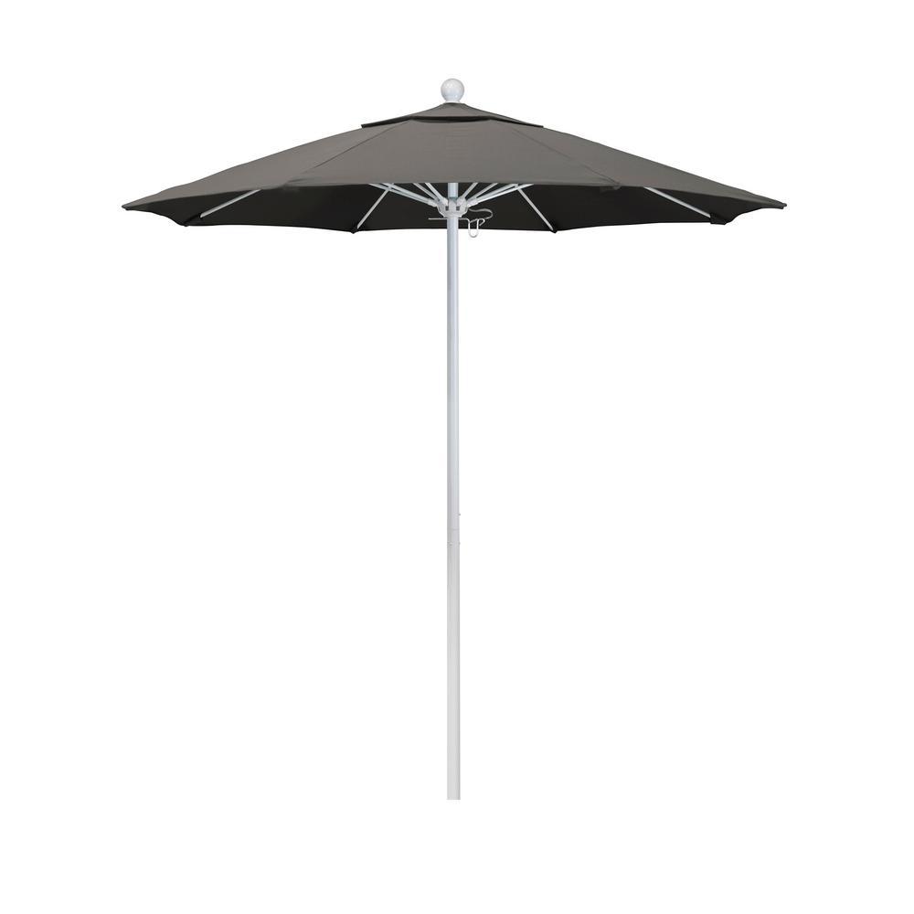 California Umbrella 7.5 ft. Market Matted White Fiberglass Pulley Open Patio Umbrella in Taupe Pacifica