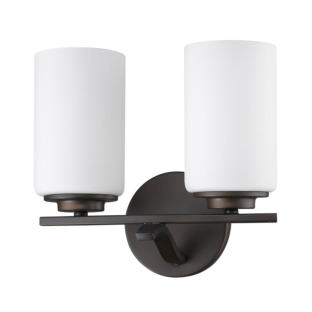 Acclaim Lighting Poydras 2-Light Oil-Rubbed Bronze Vanity Light with Etched Glass Shades