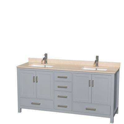 Sheffield 72 in. W x 22 in. D Vanity in Gray with Marble Vanity Top in Ivory with White Basins