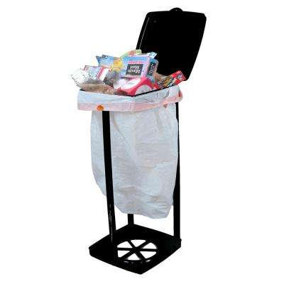 "Portable Garbage Bag Holder with Lid, Black, ""Capacity 13 gal."""